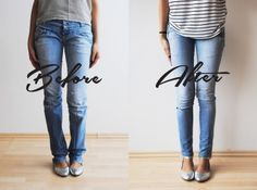 turned this Boot-Cut jeans into Skinny Jeans Make Skinny Jeans, How To Make Jeans, How To Fray Jeans, How To Distress Jeans, Altering Jeans, Altering Clothes, Sewing Pants, Sewing Clothes, Diy Pantalones Cortos