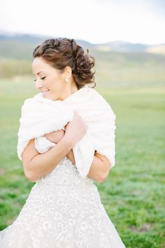 #Bride #Hairstyle #Wrap | See the wedding on #SMP Weddings:  http://www.stylemepretty.com/2013/12/11/romantic-colorado-wedding-at-devils-thumb-ranch/ Tess Pace Photography