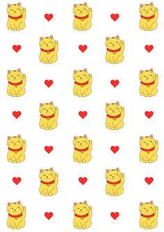 Free digital lucky cat scrapbooking paper - ausdruckbares Geschenkpapier - freebie | MeinLilaPark