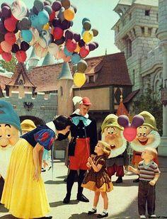 1961. Characters and children interact at Disneyland in Anaheim, California. #disney #deepcor #waltdisney #disneyland #vintage #photography #snowwhite #california