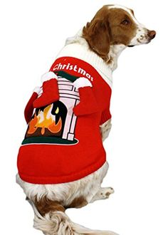 fireplace dog sweater with 3 d stockings christmas dog sweater x large - Large Dog Christmas Outfits
