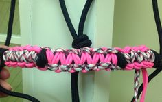 Neon pink and blank halter. $25