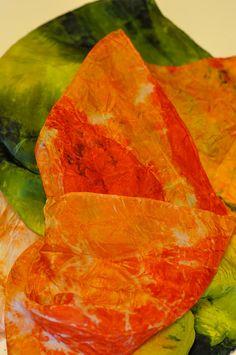 Silk Shibori Scarf - Hand Dyed Silk Scarf - Orange, Red, Green - Silk Habotai - Gift for Her by WhatJennyMakes on Etsy Orange Red, Red Green, Dyed Silk, Green Silk, Shibori, Gifts For Her, Handmade Items, My Etsy Shop
