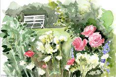 Summertime in the garden Original watercolor painting by RougeBaie