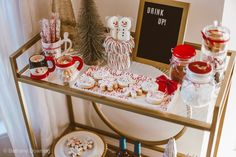 Wondering how to style your new bar cart? I'm sharing 5 tips on how to style your hot chocolate bar cart, so you can be the hostess with the mostess. Christmas Hot Chocolate, Christmas Coffee, Cozy Christmas, Christmas Gifts, Choclate Bar, Hot Chocolate Bars, Bar Cart Decor, Bar Cart Styling, Gingerbread Christmas Decor