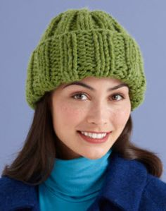 Lion Brand® Wool-Ease® Thick & Quick® Solstice Hat #knit #pattern