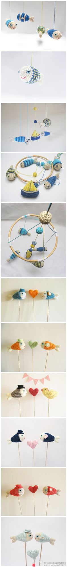 Pececillos de ganchillo. Little fishes crochet.