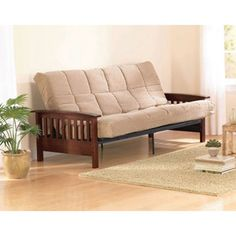 Mainstays Mission Wood Arm Futon, Walnut  I've found what I want for my basement !! :)