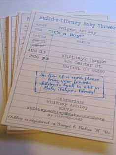 Build-a-Library baby shower!-- love love love this idea! :)