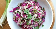 Bobby Flay's Jicama Salad - love love love this crunchy zingy w/ a touch of sweet side salad. Excellent choice to serve with fish tacos. Chef Bobby Flay, Bobby Flay Recipes, Chef Recipes, Side Dish Recipes, Food Network Recipes, Mexican Food Recipes, Real Food Recipes, Healthy Coleslaw Recipes, Salad Recipes