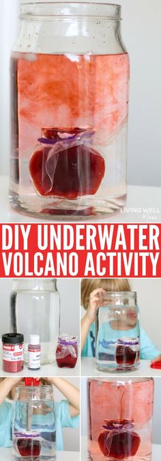 This glittery easy-to-do STEM activity features an underwater volcano and teaches kids about water temperature, travel, how volcanoes work and more fun science!