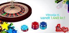 Er du varm på rouletten, så afspejler det sig altid i gevinsten. Her ser det godt nok ud som om, at en af vores spillere har ramt et nummer lige på - Eller 4 numre i streg med en 10-krone.  Du kan selv prøve at spille roulette for sjov eller med rigtige penge og skattefrie gevinster hos Mr Spil: http://www.mrspil.dk/roulette/