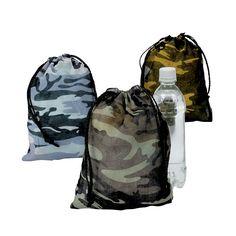 "Camouflage Drawstring Bags - OrientalTrading.com $10.99 per dozen. 7.5 x 10"""