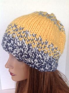 Hand Knit Beanie Slouch Beret Sunshine Blue Sky by HANDKNITS2LOVE, $39.00