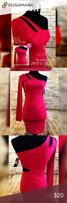 💎 Sexy Red cut out Dress 💃🏽 Upper details cut out on right shoulder          💃🏽 One long sleeve on the right side                  💃🏽 Cut out on the left side on waist                     💃🏽 Mini dress style length above knees              💃🏽 96% Polyester 4% Spandex                             💃🏽 Brand New with tags                                       💃🏽 Fit Actual size/ Not stretchy/ Curves to the body  ⛔️ No trades ⛔️ 💎 5 star rating ⚡️Fast shipping Dresses Mini