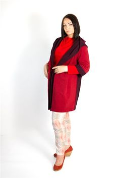"""Straight hooded coat in contrasting cherry and burgundy colors featuring a wide hood which switches to a """"scarfy"""" collar, an open front or may be belted waist, 3/4 sleeves, one patch pocket and a mid-length."""