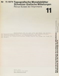 Typographische Monatsblätter, Issue 11 – Wolfgang Weingart, 1974