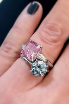 A huge thank you to each one of my 1,000 followers!! Two small but heavenly pastel colored diamonds. Fancy intense blue and fancy vivid purplish pink.