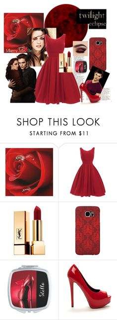 """""""Twilight"""" by personaleffects ❤ liked on Polyvore featuring B. Ella, Yves Saint Laurent, Samsung, fashionset, polyvorestyle and polyvorefashion"""
