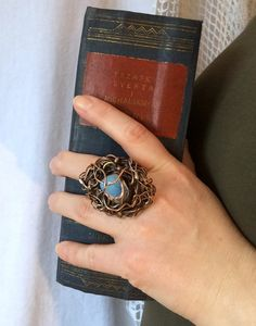 white opalite wire ring gemstone ring large by CopperFinger