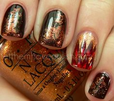 bases of NOPI Hard Kourt Fashionista and Pros & Bronze. For the sponging over the Brown nails I used O.P.I Warm & Fozzie (Heart melting over...