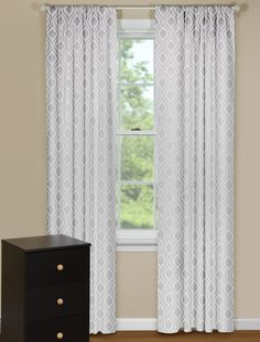 Modern Curtain Panels With Retro Ogee Petite Pattern in Grey