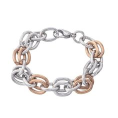 Women's Stainless Steel Two-tone Textured Link Bracelet
