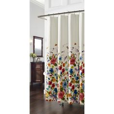 @Overstock - Panache Floral Shower Curtain - With 12 button holes for hanging ease, this shower curtain has bright floral fun to liven and refresh any bathroom decor. A garden of bright colored flower bouquets flutter away to a white ground.  http://www.overstock.com/Bedding-Bath/Panache-Floral-Shower-Curtain/7550740/product.html?CID=214117 $27.99