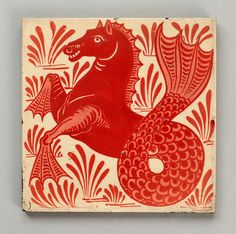 William De Morgan hippocamp tile by robmcrorie William Morris, Weird Sea Creatures, Medieval, Art Ancien, Persian Pattern, Mermaids And Mermen, Arts And Crafts Movement, Tile Art, Pottery Art