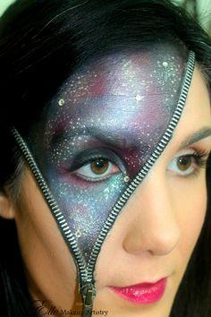 Halloween and special effects makeup. #halloween #galaxy #zipper #space