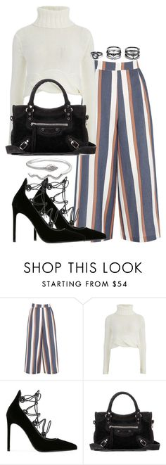 """""""Untitled #2577"""" by theeuropeancloset ❤ liked on Polyvore featuring Warehouse, C/MEO COLLECTIVE, Yves Saint Laurent, Balenciaga and LULUS"""