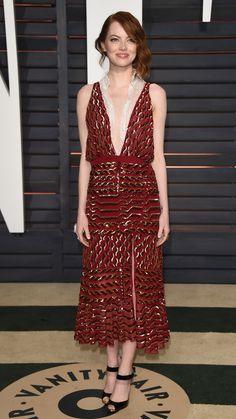 Who: Emma Stone Wore: Altuzarra Where: 2015 Vanity Fair Oscar Party via @stylelist | http://aol.it/17SHLnT
