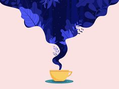Dreaming over my cup of coffee welcome screen plants space stars sky smoke digital painting freebie pastel coffee blue ux ui vector design freebies drawing sketch illustration