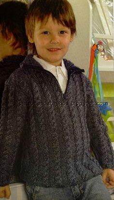 Pulóver para niño de aprox. 6 años realizado en dos agujas. Talla : 6 años Materiales : 350 gr de lana mezcla de 4 cabos Un p... Crochet For Boys, Knitting For Kids, Free Knitting, Crochet Baby, Knit Crochet, Baby Knitting Patterns, Baby Patterns, Baby Vest, Baby Boy