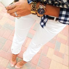 love these accessories with this plaid shirt