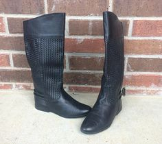 vtg 80s Black TALL Woven Leather RIDING BOOTS cuff 6 pirate
