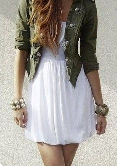 Such a gorgeous contrast! Tough army jacket combined with the oh so pretty little white dress! Topped off with those oversized accessories makes this a very stylish outfit indeed xx Look Fashion, Teen Fashion, Womens Fashion, Edgy Summer Fashion, Fashion News, Fashion Models, Spring Fashion, High Fashion, Fashion Beauty