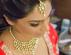 cute polki maang tikka , polki necklace , light jewellery , bridal jewellery
