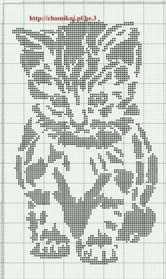 I think I will use this as a knitting chart - stocking stitch for the background and purl for the pattern (dots): Crochet Filet, Fillet Crochet, C2c Crochet, Tapestry Crochet, Crochet Doilies, Pixel Crochet Blanket, Afghan Crochet Patterns, Crochet Lace, Cat Cross Stitches