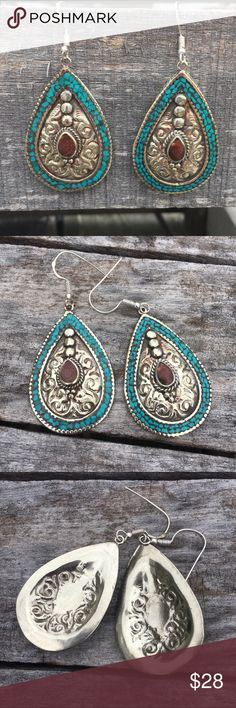 List! Boho Turquoise Teardrop Earrings! NEW! Beautiful earrings! I'm not finding a stamp, but they don't tarnish. Just under 2 inches long. NEW removed from package to inspect. Boutique Jewelry Earrings
