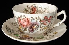 Johnson Brothers, England antique ironstone cup and saucer in the Sheraton pattern made 1910-1920s