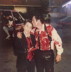 "Behind the Scenes. ""Reservoir Dogs"" (1992). Michael Madsen (Mr. Blonde) and Tim Roth (Mr. Orange). #timroth #michaelmadsen #quentintarantino #tarantino #quentintarantino #behindthescenes #cinephilecommunity"
