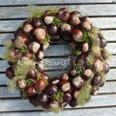 NATURKRANZ ♥Kastaniengruß...♥ Herbstkranz Tischkranz  Fall / Autumn wreath DIY chestnuts
