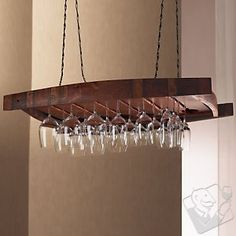 #WineEnthusiast - Vintage Oak Hanging Wine Glass Rack - Wonder if I could hang this in our wine closet.  Must measure!