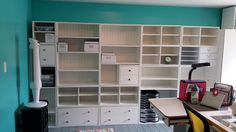 Shelving units installed and ready to fill with supplies