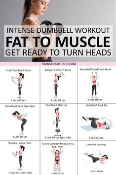 This dumbbell workout will turn fat to muscle and get heads turning ;) Keep at it to really burn that stubborn fat. And don't forget to share if this workout helped you! Fitness Workouts, At Home Workouts, Fitness Tips, Fitness Plan, Fitness Goals, Kids Fitness, Fitness Memes, Fitness Logo, Yoga Fitness