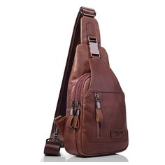dc244d10a1 Ekphero Men Casual Genuine Leather Oil Wax Chest Bag Crossbody Bag - Banggood  Mobile Shoulder Backpack