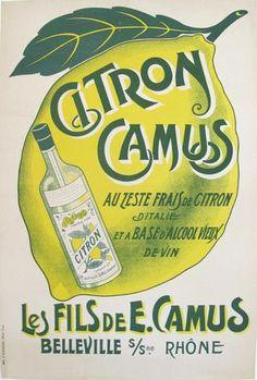 1910s French Vintage Belle Epoque Alcohol Ad, Citron Camus - Unknown