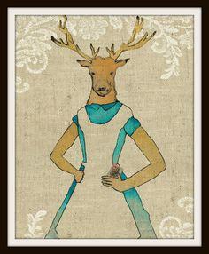 Alice In Wonderland, Alice Deer Anthropomorphic Parody Art Print, Alice in Wonderland Print 8 X 10 on Etsy, $9.98