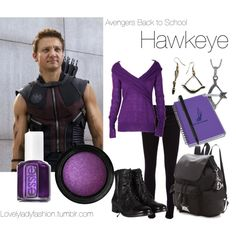"""""""Avengers Back to School - Hawkeye"""" by nearlysamantha on Polyvore"""